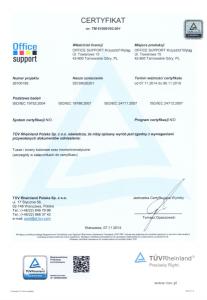 Tusze Tonery Certyfikaty TUV