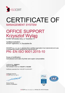 Certyfikat ISO ENG 9001 Office Support