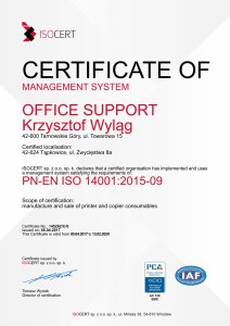 Certyfikat ISO 14001 Office Support